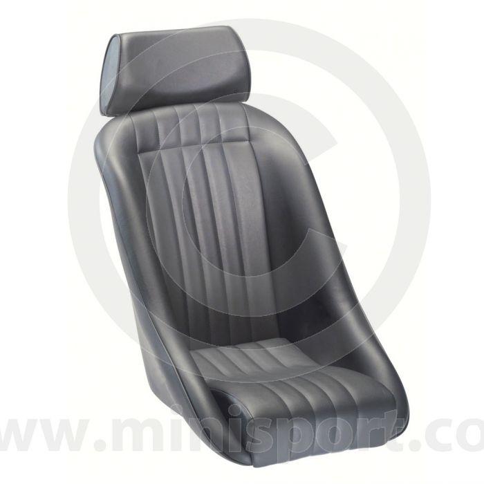 Mini Classic & Headrest - Black Soft Grain Vinyl outers/Black Corduroy centres