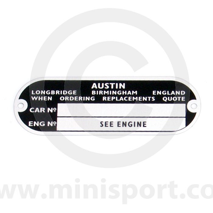 Austin Chassis/Engine Plate