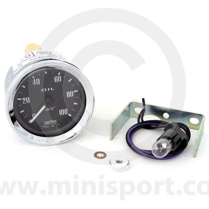 Smiths Oil Pressure Gauge - Mechanical - Black Face with Chrome Ring