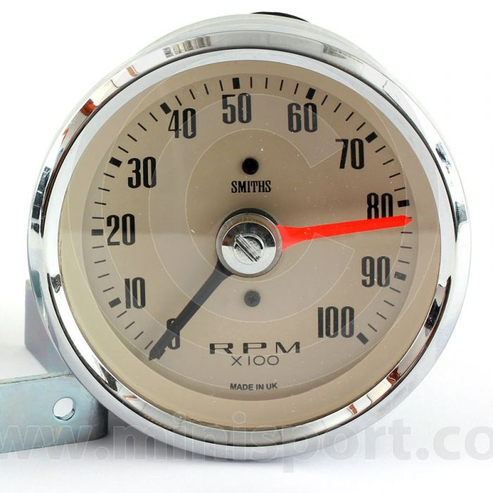 SMIRVC1004-02CB Smiths Classic 10000RPM Rev Counter with 80mm magnolia face and chrome bezel.