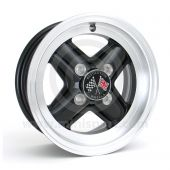 "5"" x 12"" black Revolution alloy wheel and Yokohama A539 tyre package"