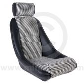 Mini Classic RS & Headrest - Black Soft Grain Vinyl outers/Houndstooth centres/ Black Soft Grain Vinyl Piping