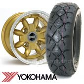 "6"" x 10"" gold Ultralite alloy wheel and Yokohama A032 tyre package"